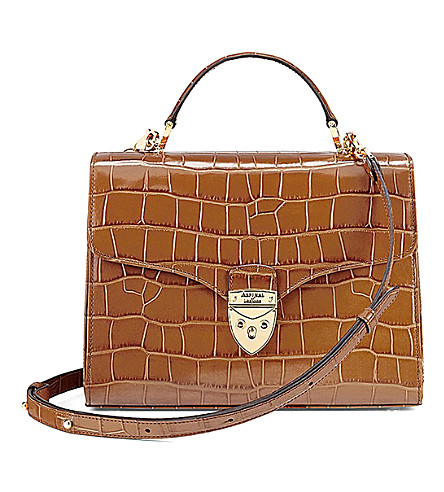 ASPINAL OF LONDON Mayfair crocodile-embossed leather bag (Tan