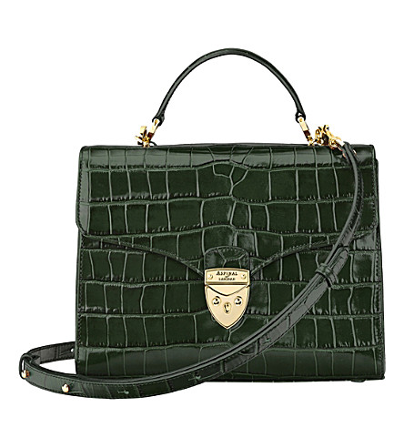 ASPINAL OF LONDON Mayfair crocodile-effect leather bag (Forest green