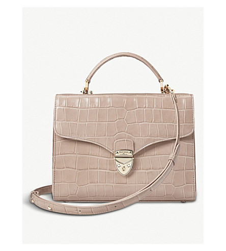 ASPINAL OF LONDON Mayfair crocodile-embossed leather cross-body bag (Taupe+croc