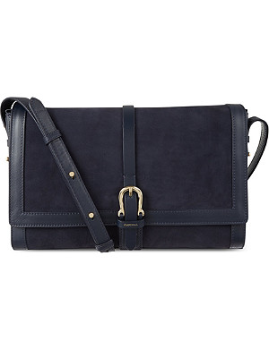 ASPINAL OF LONDON Suede buckle shoulder bag