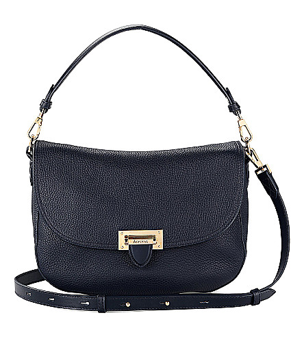 ASPINAL OF LONDON Letterbox slouchy leather saddle bag (Navy