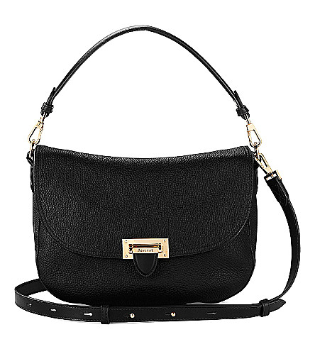 ASPINAL OF LONDON Letterbox slouchy leather saddle bag (Black