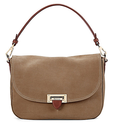 ASPINAL OF LONDON Letterbox slouchy leather saddle bag (Tan