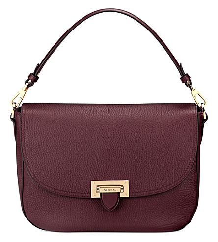 ASPINAL OF LONDON Slouchy pebbled-leather saddle bag (Burgundy