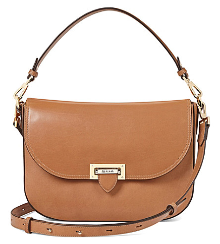 ASPINAL OF LONDON Slouchy leather saddle bag (Natural+tan