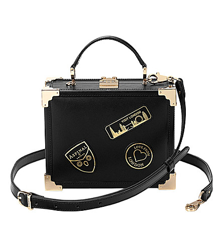 ASPINAL OF LONDON Trunk patch clutch bag (Black