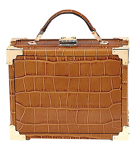 ASPINAL OF LONDON Mini trunk crocodile-embossed leather shoulder bag (Tan