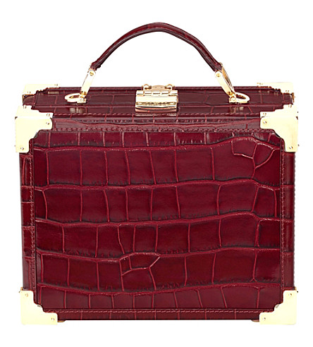 ASPINAL OF LONDON Trunk mock-croc leather clutch bag (Burgundy