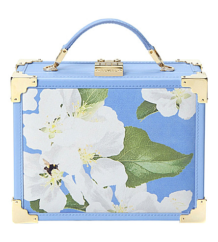 ASPINAL OF LONDON Trunk floral leather clutch bag (Blue