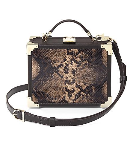 ASPINAL OF LONDON Trunk snakeskin leather shoulder bag (Brown