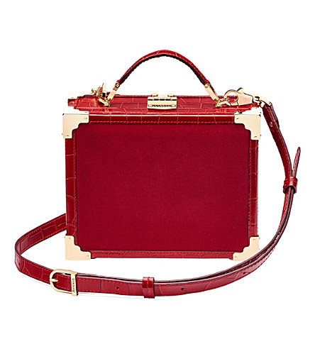ASPINAL OF LONDON Trunk velvet and crocodile-effect leather clutch bag (Scarlet