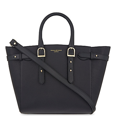 ASPINAL OF LONDON Marylebone medium pebbled leather tote (Black