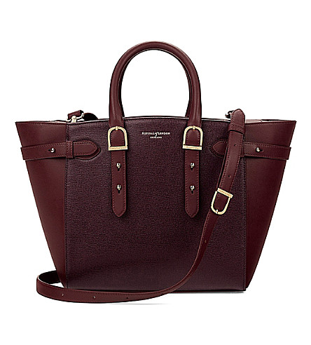 ASPINAL OF LONDON Marylebone medium Saffiano leather tote (Burgundy