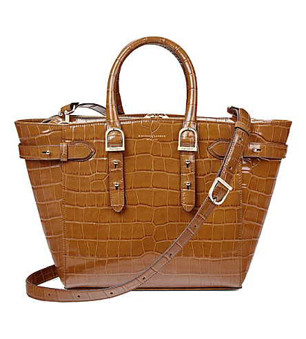 ASPINAL OF LONDON Marylebone croc-embossed leather tech tote bag (Natural+tan