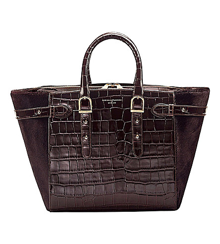 ASPINAL OF LONDON Marylebone crocodile effect leather and haircalf midi tech tote (Amazon+brown