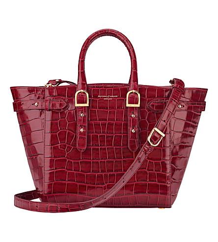 ASPINAL OF LONDON Marylebone Midi Tech leather tote bag (Burgundy