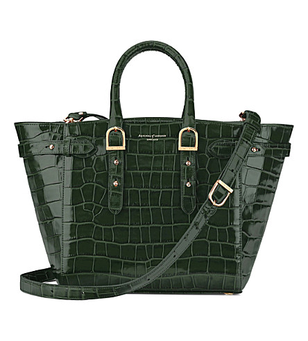 ASPINAL OF LONDON Marylebone croc-embossed leather tech tote bag (Forest+green