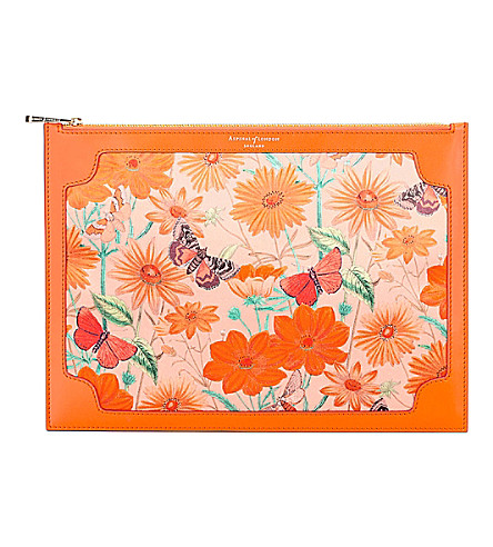 ASPINAL OF LONDON Mini Manhattan botanical-print silk clutch (Orange