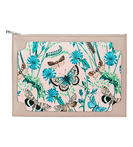 ASPINAL OF LONDON Mini Manhattan botanical-print silk clutch (Brown