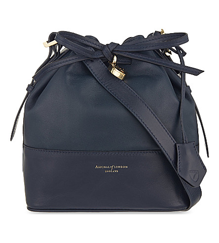 ASPINAL OF LONDON Padlock nappa leather bucket bag (Navy