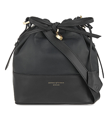 ASPINAL OF LONDON Padlock Nappa leather bucket bag (Black