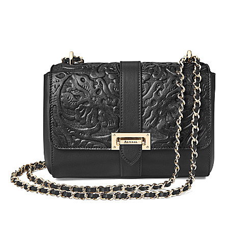 ASPINAL OF LONDON Lottie floral-embossed leather shoulder bag (Black