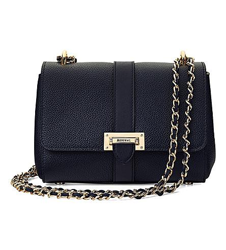 ASPINAL OF LONDON Lottie leather shoulder bag (Navy