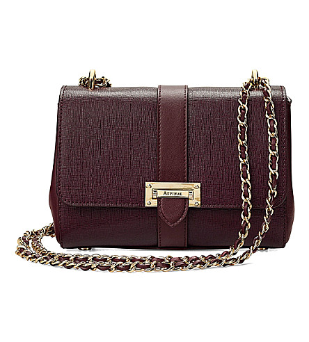 ASPINAL OF LONDON Lottie Saffiano-leather shoulder bag (Burgundy