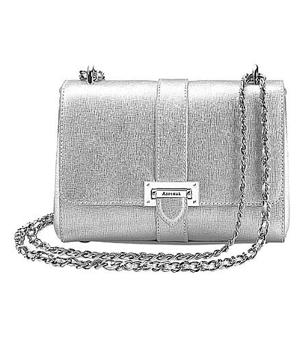 ASPINAL OF LONDON Lottie saffiano leather shoulder bag (Silver