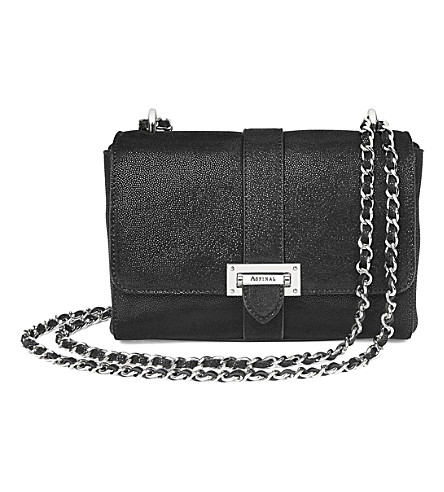 ASPINAL OF LONDON Lottie chain-strap leather bag (Black+galaxy