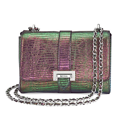 ASPINAL OF LONDON Lottie iridescent lizard-embossed leather shoulder bag (Multi