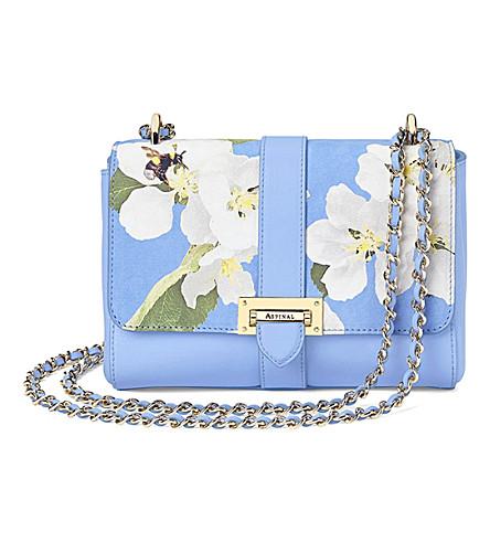 ASPINAL OF LONDON Lottie floral leather shoulder bag (Blue