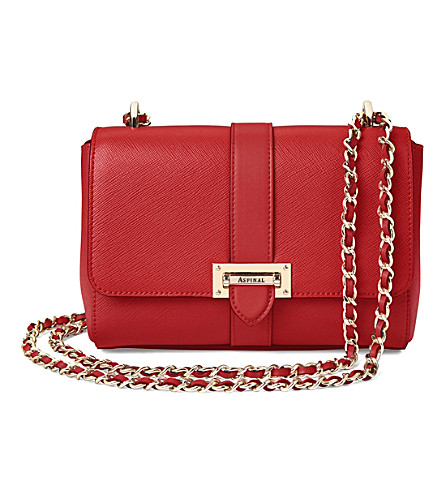 ASPINAL OF LONDON Lottie leather shoulder bag (Scarlet