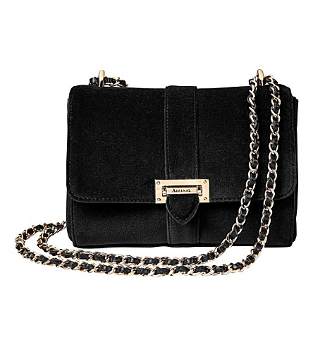 ASPINAL OF LONDON Lottie velvet shoulder bag (Black
