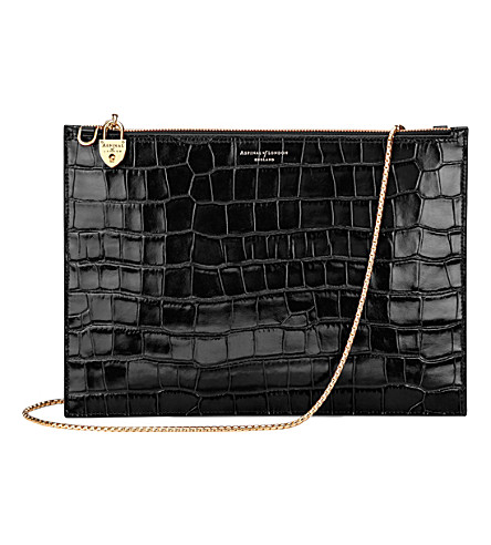 ASPINAL OF LONDON Soho mock-croc leather clutch bag (Black