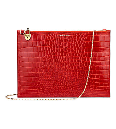 ASPINAL OF LONDON Soho reptile-effect leather clutch (Red