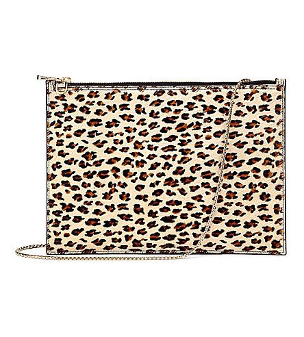 ASPINAL OF LONDON Soho flat haircalf and leather clutch bag (Leopard