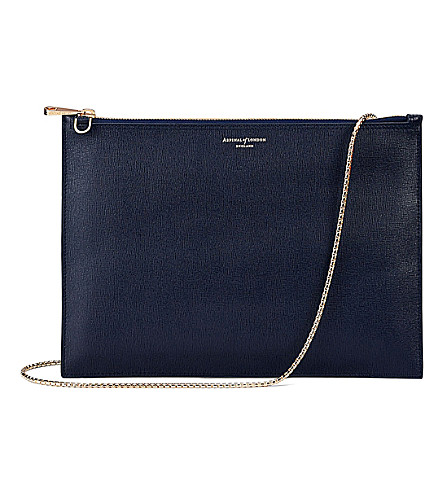 ASPINAL OF LONDON Soho flat saffiano leather clutch bag (Navy