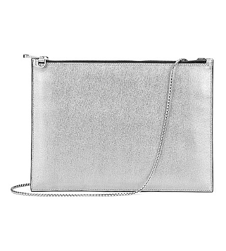 ASPINAL OF LONDON Soho flat saffiano leather clutch bag (Silver
