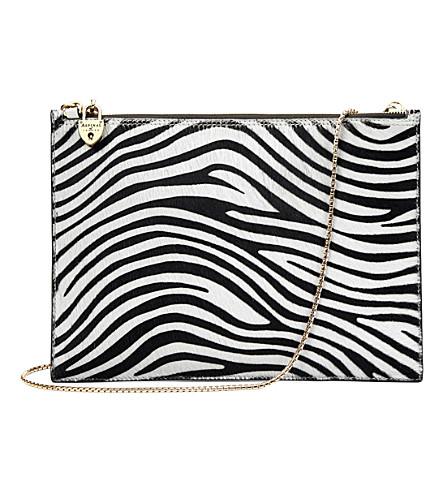 Aspinal of london soho zebra print pony hair leather clutch ivory