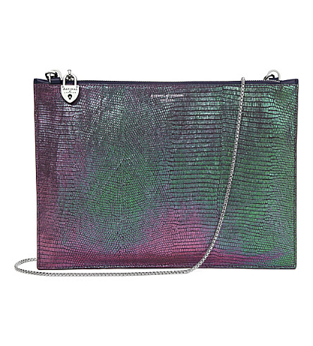 ASPINAL OF LONDON Soho iridescent lizard-embossed leather clutch bag (Multi