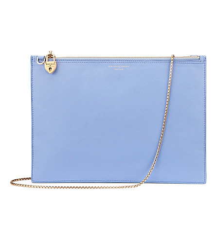 ASPINAL OF LONDON Soho leather clutch bag (Misty+blue