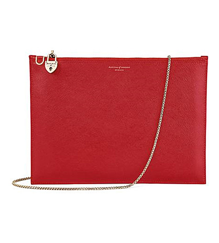 ASPINAL OF LONDON Soho leather pouch (Scarlet