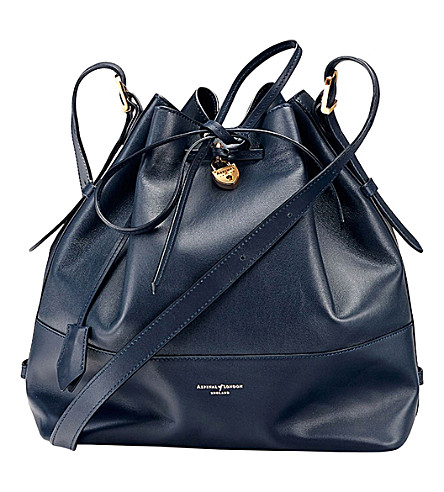 ASPINAL OF LONDON Padlock leather duffle bag (Navy