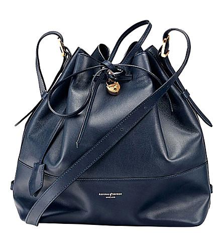 ASPINAL OF LONDON Padlock leather duffle bag (Navy