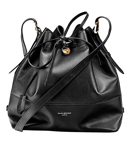ASPINAL OF LONDON Padlock leather duffle bag (Black