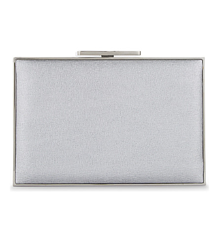 ASPINAL OF LONDON Leather box clutch (Silver