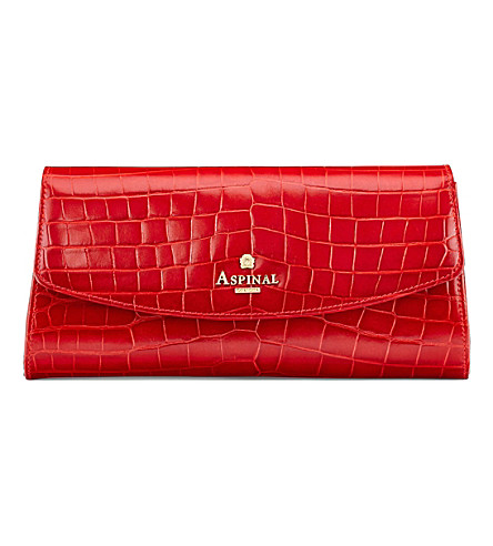 ASPINAL OF LONDON Eaton crocodile-embossed leather clutch bag (Red