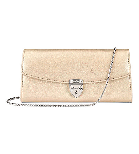 ASPINAL OF LONDON Mini Eaton metallic-leather clutch (Gold+dust