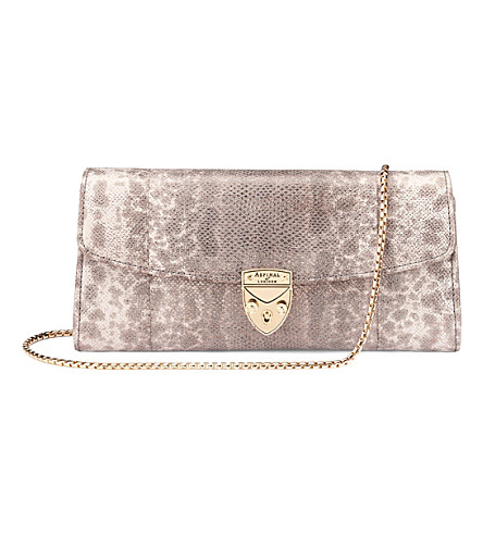 ASPINAL OF LONDON Mini Eaton python-print leather clutch (Rose+gold